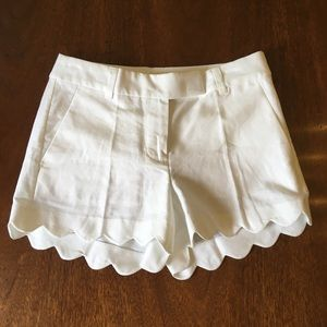 J CREW White Scallop Shorts NWOT SZ.0